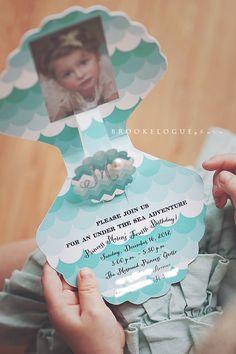 Set of 12 - Vintage Mermaid Princess Birthday Party Invitations by PaperCandee. $42.00, via Etsy.