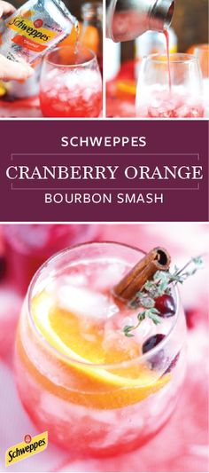 Shake together a seasonal drink that is sure to spark some holiday inspiration. This recipe for a Schweppes Cranberry Orange Bourbon Smash uses Schweppes ​Orange ​Sparkling ​Water to bring about a bubbly flavor and presentation that is sure to suit any ce Christmas Brunch, Christmas Drinks, Holiday Cocktails, Christmas Ideas, Fancy Drinks, Yummy Drinks, Bourbon Smash, Probiotic Foods, Holiday Essentials