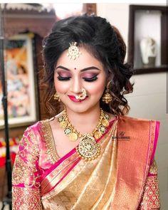 Image may contain: 1 person Bridal Hairstyle Indian Wedding, Bengali Bridal Makeup, Indian Wedding Makeup, Indian Bridal Hairstyles, Bride Hairstyles, Bridal Sarees South Indian, Indian Bridal Fashion, Indian Bridal Wear, Indian Sarees
