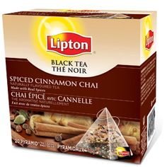 Lipton® Black Tea with Spiced Cinnamon Chai... My favorite way is steeping 2 tea bags in 1 cup hot water, then adding a 1/2 cup of milk, 3 splenda, and a bunch of ice :)