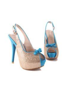 Beautiful Blue Sexy Bowknot Peep-toe Stiletto Heels