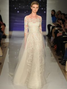 Reem Acra cream embroidered circular tulle wedding dress with open side detail