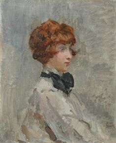 'Isaac' Lazarus Israels (Amsterdam 1865-1934 Den Haag) Young lady in grey - Dutch Art Gallery Simonis and Buunk Ede, Netherlands.