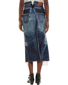 Buy Junya Watanabe Women's Blue Splitfront Denim Skirt, starting at $219. Similar products also available. SALE now on!