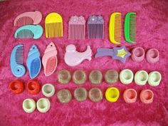 My Little Pony Vintage Lot of 32 Accessories Brushes, Combs, Shoes 1980's