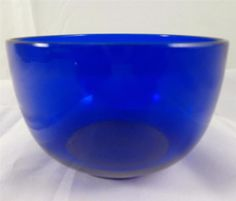 Antique Early Victorian Blown Bristol Blue Glass Tea Caddy Mixing Bowl c 1840