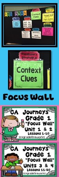 CA Journeys Focus Wall components for Grade 1. Units 3 & 4 ...Lessons 11-20 Can be used for homeschooling! ALL Components for a COMPLETE Focus Wall 9 Components  Components Included: Essential Question Words to Know ( HFW ) Phonics Fluency Comprehension Writing Spelling Grammar Vocabulary Directions for use: NO LAMINATING REQUIRED!! Black & White Printables See Preview for components Focus Wall Headers https://www.teacherspayteachers.com/Product/CA-Journeys-FOCUS-WALL-Units-3-4-2569113