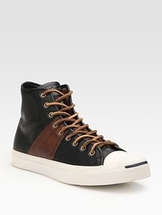 Jack Purcell Johnny High-Tops in Black & Brown Leather Dior Sneakers, Dress With Sneakers, New Sneakers, Casual Sneakers, High Top Sneakers, Sneakers Nike, Black Culottes, Nike Fashion, Moda Masculina