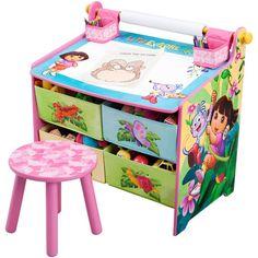 Nickelodeon Dora the Explorer Art Desk  with Storage Organization