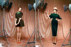 love the mini + orange heels. ulyana sergeenko spring 2012