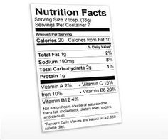 nutritional label template excel