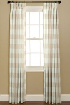 Curtains in BUFFALO CHECK  P Kaufmann Fabrics.     French Country Design.  2 Custom Made Curtains    Panels IN Linen. on Etsy, $250.00