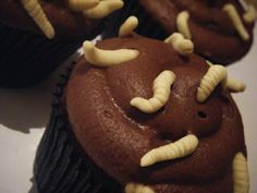 Five Gross But Delicious Halloween Cupcakes: Spiders, Maggots and Rats - Clean Plate Charlie