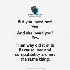 Love is expected to surpass compatibility.