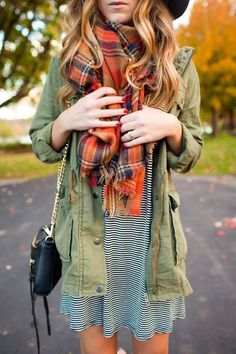 #fall #fashion / tartan scarf + military jacket