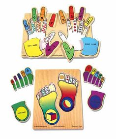 Hands & Feet Counting Puzzle Set : Now you can count on our fingers and toes! Easy to grasp pegs on these wooden puzzles make it easy to remove each piece. With colorful objects to count beneath each finger or toe, this puzzle helps establish the relationship between numbers of objects and numerals. Also introduces or reinforces the concepts of left and right.