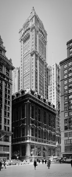 View of the Singer Tower from the Southeast, 149 Broadway, New York, New York County, NY. Photographed by Jack Boucher on 5x7 film from 2 prints. This prints was digitally composed to create one frame
