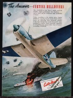 1944 WW II CURTISS HELLDIVER Attacks Japanese Aircraft Carrier WWII WW2 AD