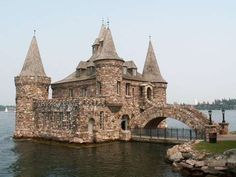 Stone powerhouse bldg. on Heart Island  in the Thousand  Islands,  Alexandria  Bay, New York (near the U.S./Canadian border). Part of the Boldt Castle family compound, begun  in 1900 by hotelier George C. Boldt.