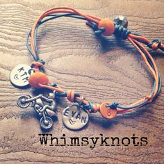 Dirt-bike charm bracelet--great for layering/stacking or alone. Personalized, Hand-Stamped Jewelry on Etsy, $21.00