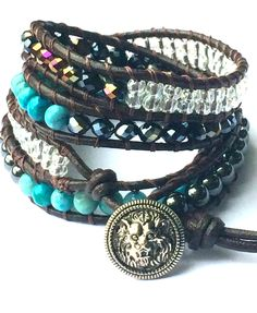 Lion Head Hematite and Turquoise Leather Wrap Bracelet by LoveNeff, $36.00