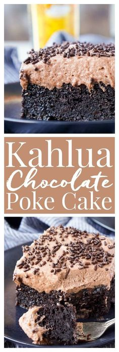 This Kahlua Chocolate Poke Cake is a deliciously boozy dessert that will get any party started! This Chocolate cake is baked with, soaked in, and frosted with Kahlua. Its the ultimate boozy dessert! via Rebecca Hubbell / Sugar Soul Brownie Desserts, Köstliche Desserts, Chocolate Desserts, Delicious Desserts, Dessert Recipes, Cake Chocolate, Desserts With Alcohol, Ultimate Chocolate Cake, Birthday Desserts