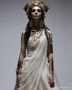 White Lace Gown w/ Gold Accessories..