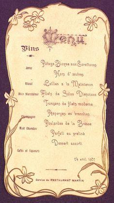 Menú del Restaurant Martín de Barcelona, 24 d'abril de 1907