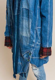 Greg Lauren Long Vintage Denim/Indigo Stripe Jacket in Denim Blue Santa Fe Dry Goods, Recycled Denim, Striped Jacket, Vintage Denim, Slow Fashion, Blue Denim, Denim Jeans, Indigo, Jackets