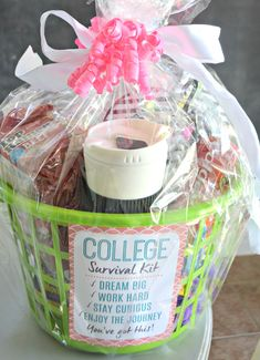 graduation gifts Dollar Tree DIY College Survival Kit with the printable is cellophane wrapped Cheap Graduation Gifts, High School Graduation Gifts, College Graduation Gifts, College Gifts, Graduation Ideas, Graduation Gift Baskets, Graduation Gifts For Best Friend, Roommate Gifts, Graduation Presents