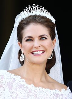 Princess Madeleine of Sweden appears on the balcony after the wedding ceremony