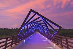 "BRG Magazine : ""Good night with the view of High Trestle Trail Bridge, Madrid, USA (Not in Spain). Project by RDG Planning & Design, Landscape Architecture, Landscape Design, Architecture Design, Bridge Design, Pedestrian Bridge, Strategic Planning, Instagram Worthy, Urban Design, Lighting Design"