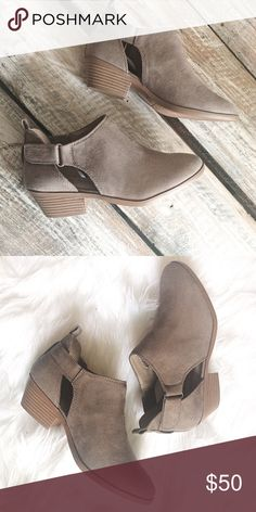 Fall Staple Booties Taupe in color. Perfect for Fall/Winter. Faux suede material. 1.5in heel. Shoes Ankle Boots & Booties