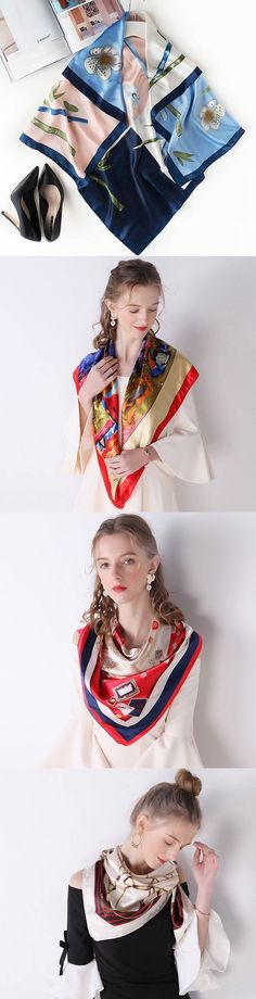 a3e02a707 Freedomsilk Square Printed Silk Scarf - Brand: FreedomSilk Material:  Mulberry Silk Size: 22 Inch X 22 Inch Seasons: All Seasons