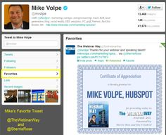 The Webinar Way - Favorite Tweet by Mike Volpe, CMO for Hubspot