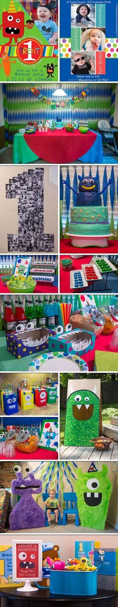 So many monster ideas, DIY tutorials and a full shopping list with links! Little Monster Birthday, Monster 1st Birthdays, Monster Birthday Parties, First Birthday Parties, Birthday Party Themes, First Birthdays, Birthday Ideas, Little Monster Party, Baby 1st Birthday
