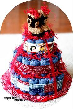 Denim Diaper Cake! Cowboy themed.