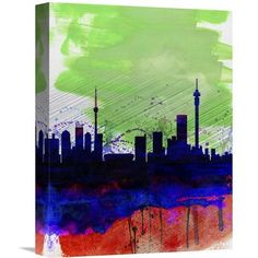 Naxart 'Johannesburg Watercolor Skyline' Painting Print on Wrapped Canvas Size: Watercolor Canvas, Watercolor Paintings, Johannesburg Skyline, Canvas Wall Art, Canvas Prints, Canvas Canvas, Skyline Painting, Art Graphique, Art Mural
