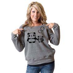 Panda Love Bella Slouchy Wideneck Sweater by rainbowswirlz on Etsy