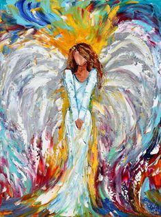 Original Angel of Light PALETTE KNIFE oil by Karensfineart on Etsy