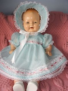 "Dotted Swiss DRESS SET fits 15""-16"" Horsman Composition Dimples doll, by TLC!"