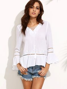 Shop White Embroidered Lace Up Front Ruffle Hem Blouse online. SheIn offers White Embroidered Lace Up Front Ruffle Hem Blouse & more to fit your fashionable needs.