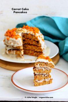 Vegan Richa: Carrot Cake Pancakes with Yogurt Coconut Cream frosting Carrot Cake Pancakes, Vegan Carrot Cakes, Pancakes And Waffles, Vegan Pancakes, Yogurt Pancakes, Vegan Sweets, Vegan Desserts, Vegan Recipes, Recipes With Yogurt