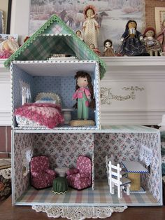 tutorial ~ dollhouse ~ cardboard and fabric. no power tools required. what's not to love? ♥