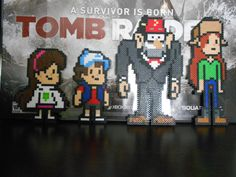 Gravity Falls Perler sprites (Dipper, Mabel, Wendy, and Grunkle Stan)  by AngryLadyStudios