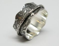 Sterling Silver Leaf Muster Spinner Ring mit Branch-Spinner