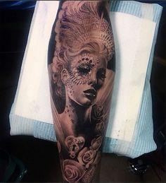 How gorgeous is this stylized portrait? Tattoo by Ellen Westholm #InkedMagazine