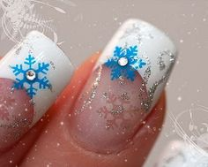 Christmas & winter nails: white french manicure with silver and blue snowflake nail art and rhinestones ♡ - Winter Nail Art Holiday Nail Art, Christmas Nail Art Designs, Winter Nail Art, Winter Nails, Christmas Nails, Winter Christmas, Winter Snow, Christmas Glitter, Christmas Design
