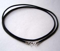 22 inch Choker Natural black Leather with sterling by admiralglass, $9.00