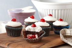 Black Forest Stuffed Cupcakes - easy peasy recipe using cake mix, cream cheese, canned pie filling, and Cool Whip.
